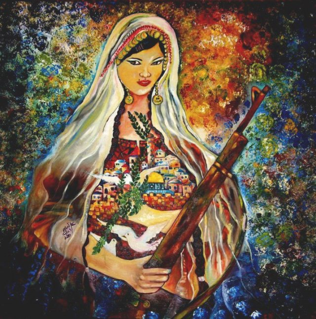 palestine woman with gun painting
